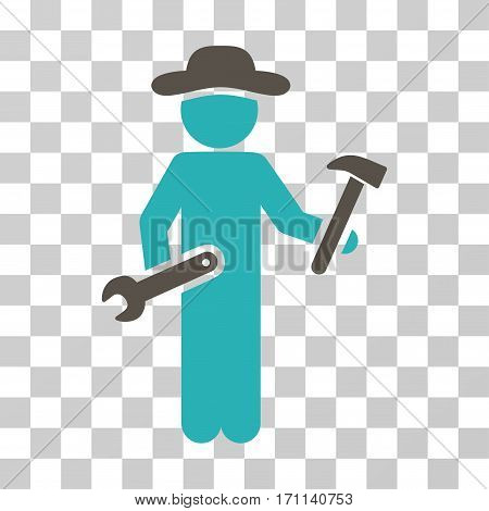 Gentleman Serviceman icon. Vector illustration style is flat iconic bicolor symbol grey and cyan colors transparent background. Designed for web and software interfaces.