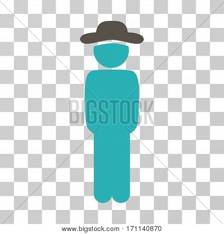 Gentleman Standing icon. Vector illustration style is flat iconic bicolor symbol grey and cyan colors transparent background. Designed for web and software interfaces.