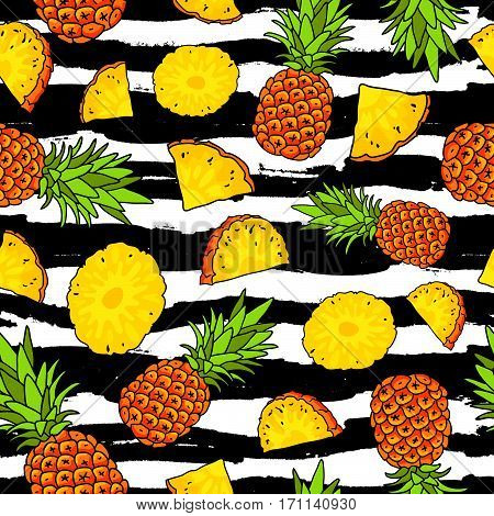 Vector seamless pattern of pineapples on a striped black and white. Summertime concept. Paradise fruit. Wrapping paper.