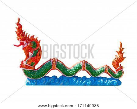 Serpent king or king of naga statue or Thai dragon in Thai temple isolated on white background