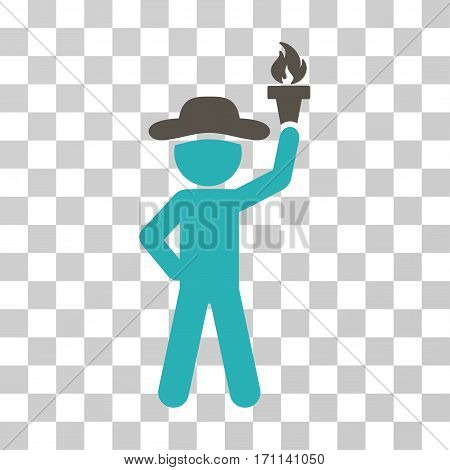 Gentleman With Freedom Torch icon. Vector illustration style is flat iconic bicolor symbol grey and cyan colors transparent background. Designed for web and software interfaces.