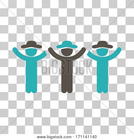 Gentlemen Hands Up Roundelay icon. Vector illustration style is flat iconic bicolor symbol grey and cyan colors transparent background. Designed for web and software interfaces.