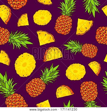 Vector seamless pattern of pineapples on a purple background. Summertime concept. Paradise fruit. Wrapping paper.