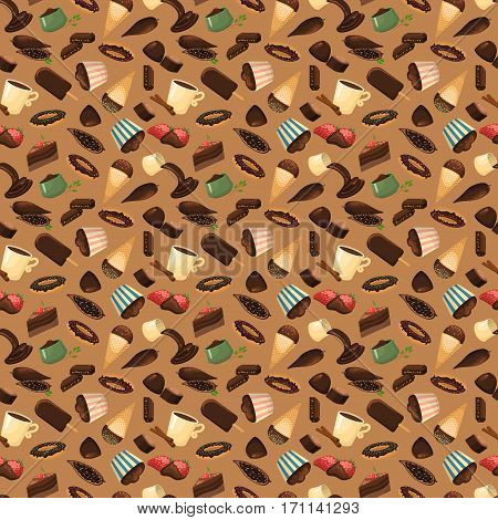 Sweet chocolate pralines background. Cocoa praline milk confection dessert background. Brown tasty candy delicious seamless pattern. Decorative valentine day vector decoration.