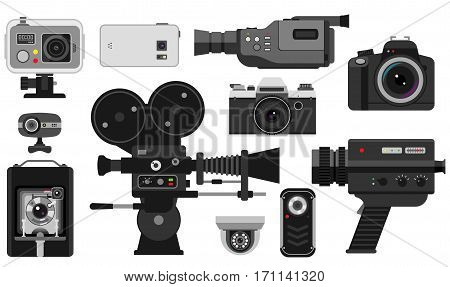 Camera photo optic lenses set on white background. Different types objective retro equipment, professional look. Digital vintage technology electronic aperture device.