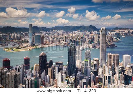 View point of Hongkong city and Kowloon city from the top of victoria peak Hong kong island China