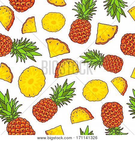 Vector seamless pattern of pineapples on a white background. Summertime concept. Paradise fruit. Wrapping paper.