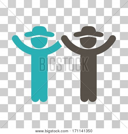 Hands Up Gentlemen icon. Vector illustration style is flat iconic bicolor symbol grey and cyan colors transparent background. Designed for web and software interfaces.
