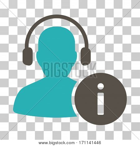 Help Desk icon. Vector illustration style is flat iconic bicolor symbol grey and cyan colors transparent background. Designed for web and software interfaces.