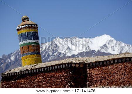 Tibetan Prayer Scenery Himalaya Range Background , Leh-ladakh, Jammu & Kashmir, Northern India, Lada