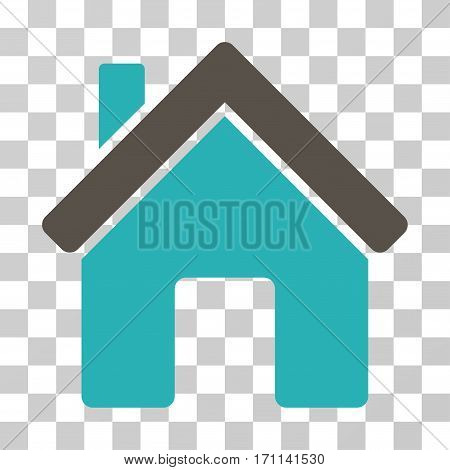 House icon. Vector illustration style is flat iconic bicolor symbol grey and cyan colors transparent background. Designed for web and software interfaces.