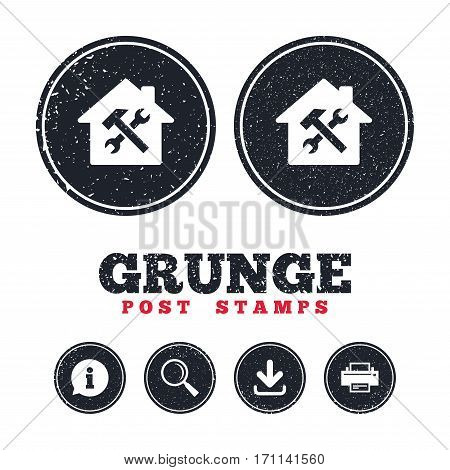 Grunge post stamps. Service house. Repair tool sign icon. Service symbol. Hammer with wrench. Information, download and printer signs. Aged texture web buttons. Vector