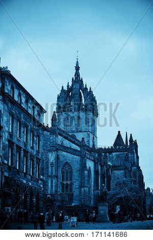 EDINBURGH, UK - OCT 8: St Giles' Cathedral and street view on October 8, 2013 in Edinburgh. As the capital city of Scotland, it is the largest financial centre after London in the UK.