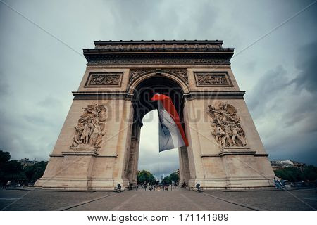 PARIS, FRANCE - MAY 13: Arc de Triomphe closeup view on May 13, 2015 in Paris. With the population of 2M, Paris is the capital and most-populous city of France