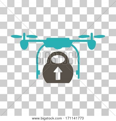 Load Cargo Drone icon. Vector illustration style is flat iconic bicolor symbol grey and cyan colors transparent background. Designed for web and software interfaces.