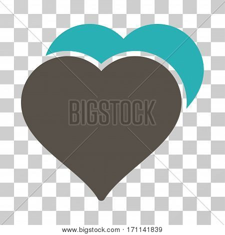Love Hearts icon. Vector illustration style is flat iconic bicolor symbol grey and cyan colors transparent background. Designed for web and software interfaces.