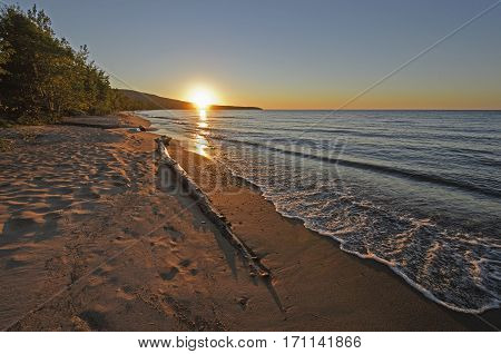 Sunset on a Quiet Lakeshore in Lake Superior near Silver City Michigan