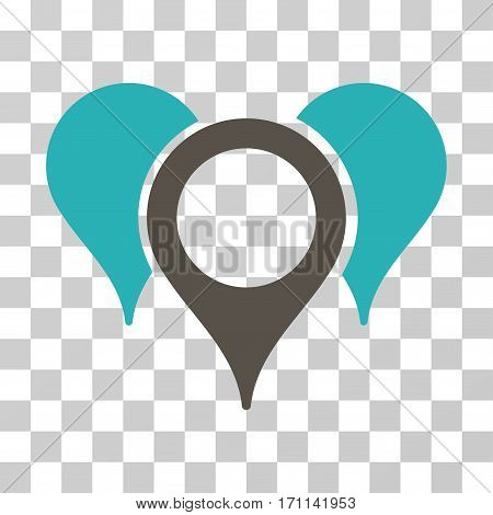 Map Pointers icon. Vector illustration style is flat iconic bicolor symbol grey and cyan colors transparent background. Designed for web and software interfaces.