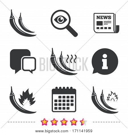 Hot chili pepper icons. Spicy food fire sign symbols. Newspaper, information and calendar icons. Investigate magnifier, chat symbol. Vector