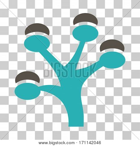 Money Tree icon. Vector illustration style is flat iconic bicolor symbol grey and cyan colors transparent background. Designed for web and software interfaces.