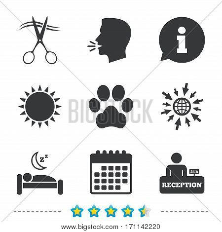 Hotel services icons. With pets allowed in room signs. Hairdresser or barbershop symbol. Reception registration table. Quiet sleep. Information, go to web and calendar icons. Sun and loud speak symbol poster