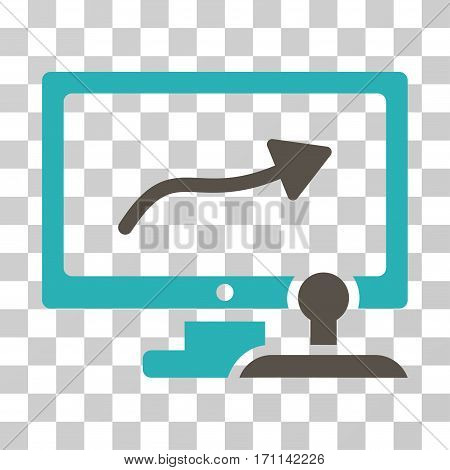 Path Control Monitor icon. Vector illustration style is flat iconic bicolor symbol grey and cyan colors transparent background. Designed for web and software interfaces.