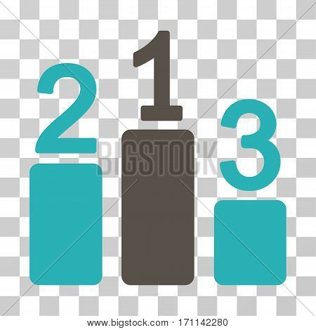 Pedestal icon. Vector illustration style is flat iconic bicolor symbol grey and cyan colors transparent background. Designed for web and software interfaces.