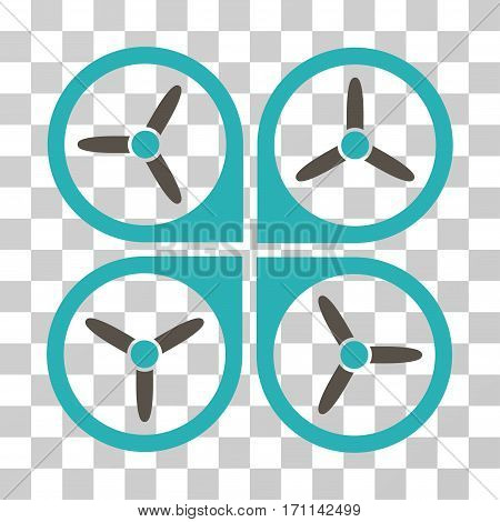 Quadrotor icon. Vector illustration style is flat iconic bicolor symbol grey and cyan colors transparent background. Designed for web and software interfaces.