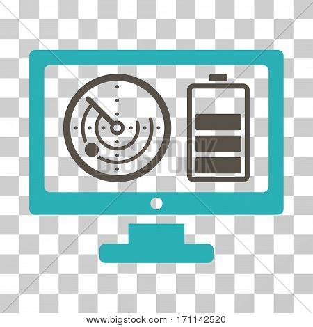 Radar Battery Control Monitor icon. Vector illustration style is flat iconic bicolor symbol grey and cyan colors transparent background. Designed for web and software interfaces.
