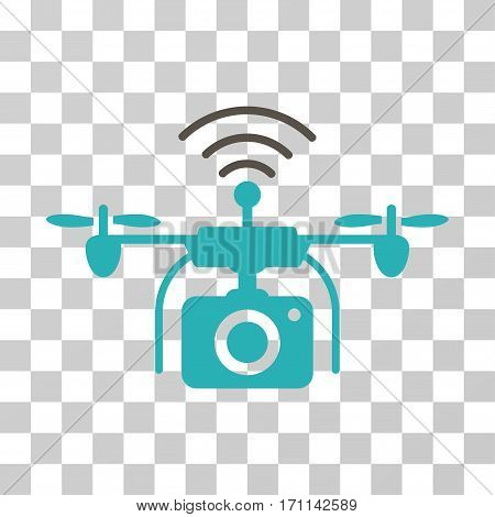 Radio Camera Drone icon. Vector illustration style is flat iconic bicolor symbol grey and cyan colors transparent background. Designed for web and software interfaces.