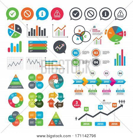 Business charts. Growth graph. Information icons. Stop prohibition and attention caution signs. Approved check mark symbol. Market report presentation. Vector