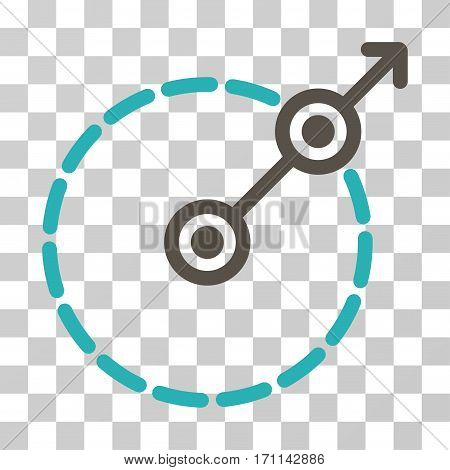 Round Area Exit icon. Vector illustration style is flat iconic bicolor symbol grey and cyan colors transparent background. Designed for web and software interfaces.