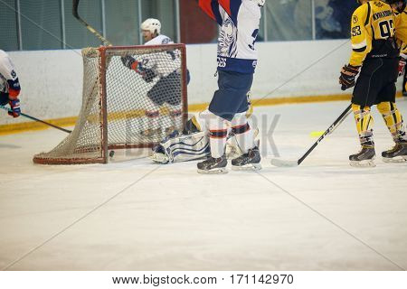 Moscow, Russia - January, 21, 2017: Amateur hockey league LHL-77. Game between hockey team