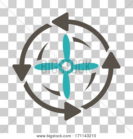 Screw Rotation icon. Vector illustration style is flat iconic bicolor symbol grey and cyan colors transparent background. Designed for web and software interfaces.