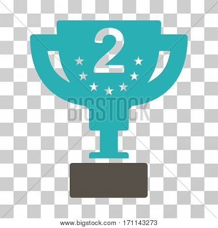 Second Prize Cup icon. Vector illustration style is flat iconic bicolor symbol grey and cyan colors transparent background. Designed for web and software interfaces.