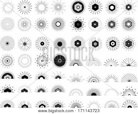 Big Set Of Retro Sun Burst Shapes. Vintage Logo, Labels, Badges. Vector Design Elements Isolated. Mi