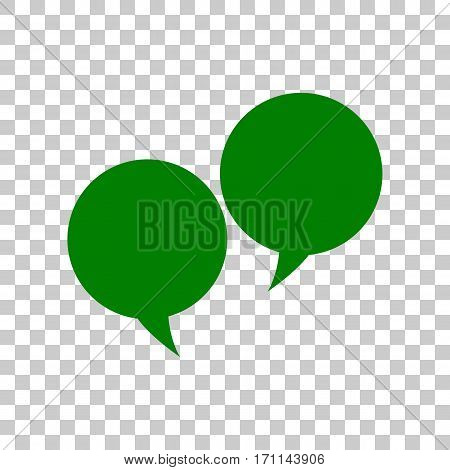 Speech bubble sign. Dark green icon on transparent background.