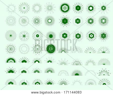 Big set of Retro Sun burst shapes. Vintage logo labels badges. Vector design elements isolated. Minimal green firework burst.