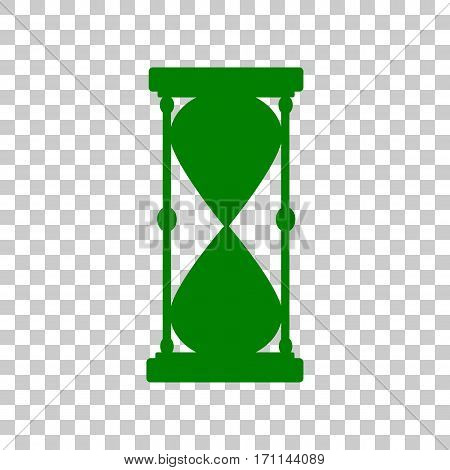 Hourglass sign illustration. Dark green icon on transparent background.