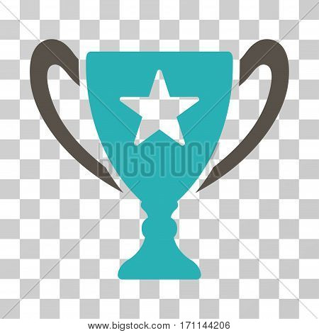 Trophy Cup icon. Vector illustration style is flat iconic bicolor symbol grey and cyan colors transparent background. Designed for web and software interfaces.