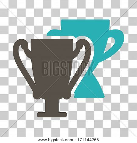 Trophy Cups icon. Vector illustration style is flat iconic bicolor symbol grey and cyan colors transparent background. Designed for web and software interfaces.