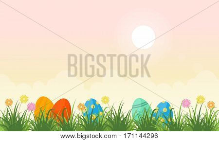Vector flat of easter egg lined collection stock