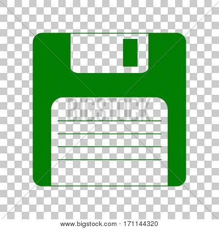 Floppy disk sign. Dark green icon on transparent background.