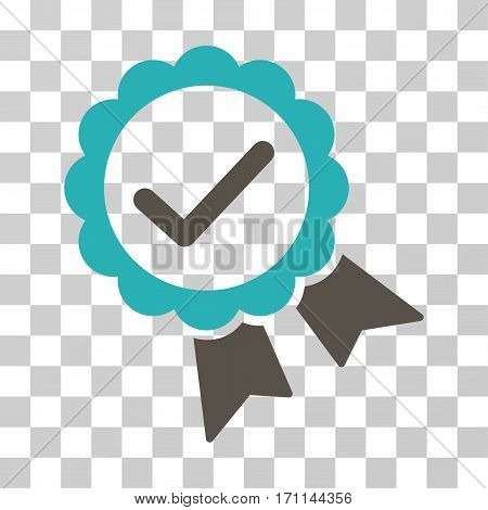 Validity Seal icon. Vector illustration style is flat iconic bicolor symbol grey and cyan colors transparent background. Designed for web and software interfaces.