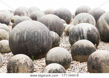 Stone In Japanese Garden On White