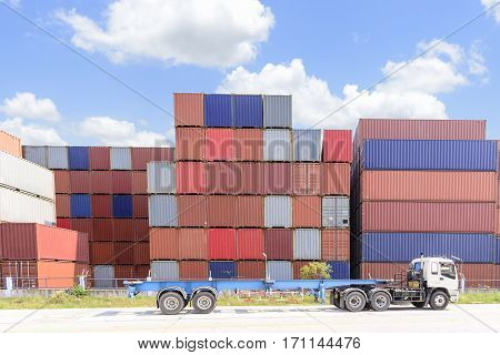 The stack of container storage on the ship yard before export process.The container truck at the ship yard with the sky.