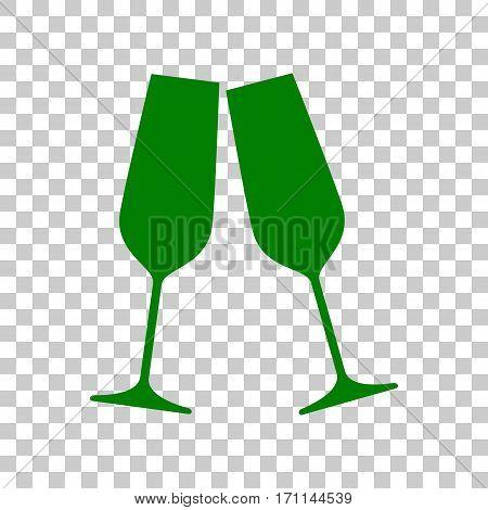 Sparkling champagne glasses. Dark green icon on transparent background.