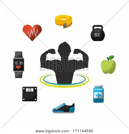 man exercising with healthy lifestyle icons around over white background. colorful design. vector illustration