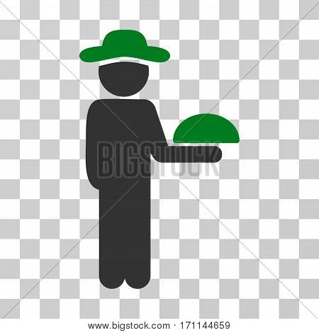 Gentleman Waiter icon. Vector illustration style is flat iconic bicolor symbol green and gray colors transparent background. Designed for web and software interfaces.