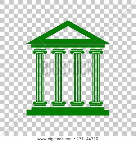 Historical building illustration. Dark green icon on transparent background.